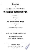 Annalen der deutschen und ausl  ndischen Criminal Rechtspflege