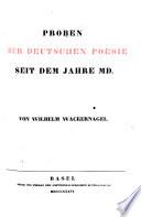 Probem der deutschen Poesie seit dem Jahre MD.