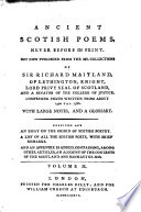 Ancient Scotish poems