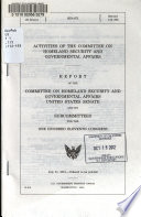 Activities Of The Committee On Homeland Security And Governmental Affairs