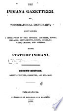 The Indiana Gazetteer  Or  Topographical Dictionary