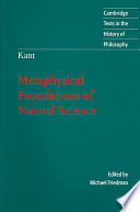 Kant  Metaphysical Foundations of Natural Science