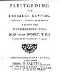 Pleitgeding van Gerardus Kuypers ... teegens den wydberoemden heer, Joan vanden Honert ...