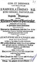 Consensus et Dissensus Chymicorum