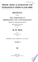 Proposed Changes in Naturalization Laws