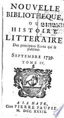 Nouvelle biblioth  que  ou  Histoire litt  raire des principaux   crits qui se publient