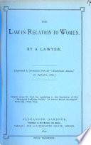 The Law in Relation to Women