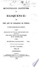 Book Quinctilian s Institutes of Eloquence