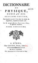 Dictionnaire de Physique portatif, 2 tomes