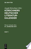 K Rschners Deutscher Literatur Kalender 57 Jahrgang 1977
