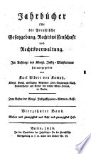 Jahrbücher für die preußische Gesetzgebung, Rechtswissenschaft und Rechtsverwaltung