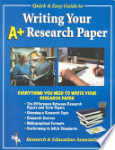 REA s Quick and Easy Guide to Writing Your A  Research Paper