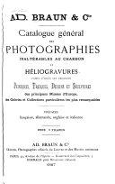 illustration du livre Catalogue général des photographies inaltérable au charbon et héliogravures