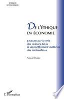 De l'éthique en économie
