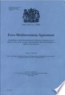 Euro-Mediterranean Agreement Establishing an Association Between the European Community and Its Member States, of the One Part, and the People's Democratic Republic of Algeria, of the Other Part