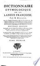 Dictionnaire etymologique de la langue françoise,