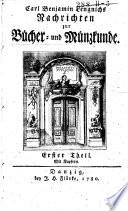Nachrichten zur Bücher- und Münzkunde
