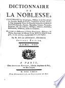 Dictionnaire de la noblesse     de France