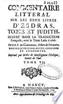 Commentaire litt  ral sur les deux livres d Esdras  Tobie et Judith