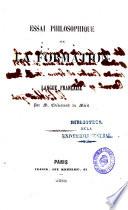 Essai philosophique sur la formation de la langue française