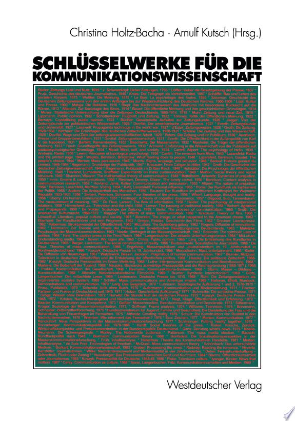 Schlüsselwerke für die Kommunikationswissenschaft