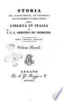 Storia Del Risorgimento De Progressi Del Decadimento E Della Rovina Della Libert In Italia