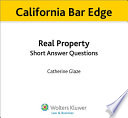 California Real Property Short Answer Questions for the Bar Exam