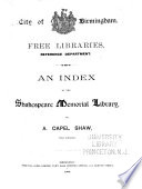 An Index to the Shakespeare Memorial Library  by A  Capel Shaw