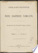 Geslacht-register der oude Kaapsche familiën
