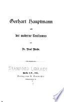 Gerhart Hauptmann und der moderne Realismus