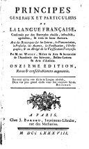 Principes généraux et particuliers de la langue française