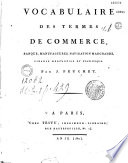 illustration Vocabulaire des termes de commerce, banque, manufactures, navigation marchande, finance mercantile et statistique