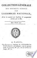Collection générale des décrets rendus par l'Assemblée Nationale