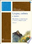 Lingua  cultura e testo