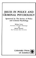 Issues in police and criminal psychology