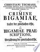 De crimine bigamiae  vom Laster der zwiefachen Ehe  et de bigamiae praescriptione  von Verj  hrung der zwiefachen Ehe
