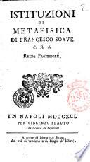 Istituzioni di Metafisica di Francesco Soave