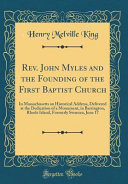 Rev. John Myles and the Founding of the First Baptist Church