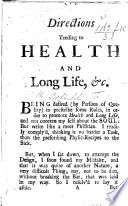 Directions Tending To Health And Long Life C