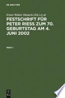 Festschrift f  r Peter Rie   zum 70  Geburtstag am 4  Juni 2002