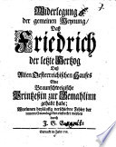 Widerlegung der gemeinen Meynung  Da   Friedrich der letzte Hertzog De   Alten Oesterreichischen Hauses Eine Braunschweigische Prinzessin zur Gemahlinn gehabt habe