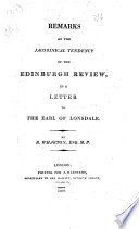 Remarks on the Jacobinical Tendency of the Edinburgh Review