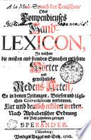 A la Mode Sprach der Teutschen Oder Compendieuses Hand LEXICON