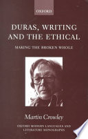 Duras  Writing  and the Ethical