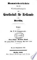 Monatsberichte über die Verhandlungen der Gesellschaft für Erdkunde zu Berlin