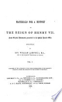 Materials for a History of the Reign of Henry VII  Book PDF