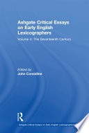 Ashgate Critical Essays on Early English Lexicographers