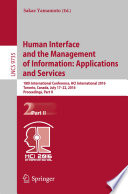 Human Interface and the Management of Information  Applications and Services