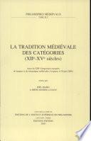 La tradition medievale des categories, XIIe-XVe siecles