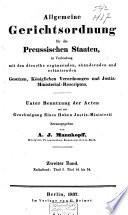 Allgemeine Gerichtsordnung für die Preussischen Staaten